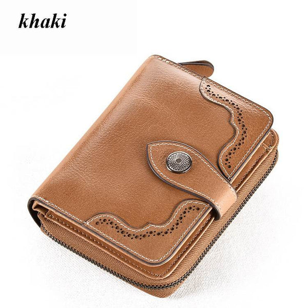 Vintage Genuine Real Leather Women Short Wallets Small Wallet Coin Pocket Credit Card Wallet Female Purses Money Clip 6N08-05
