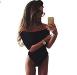 Hot Summer Women Fashion Black White 3/4 Sleeve Tops Sexy Slash Neck Off Shoulder Jumpsuit Bodysuit Clubwear One Piece Jumpsuit