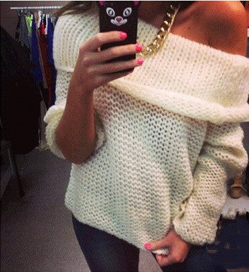 new fashion women sexy off shoulder casual pullover sweater poncho loose knitted top Pullovers oversized knitwear jumper - Hespirides Gifts - 1