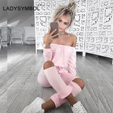 LADYSYMBOL Off Shoulder Rompers Jumpsuit Women Long Sleeve Autumn Elegant Casual Party Black Pant Hollow Jumpsuit Overalls Women