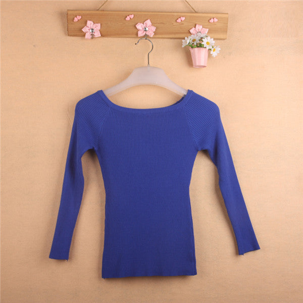 Free Shipping Autumn and Winter basic Women Sweater slit neckline Strapless Sweater thickening sweater top thread slim C0320