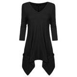 FINEJO Women Elegant Cotton t shirt V Neck 3/4 Sleeve Handkerchief Hem Line Lightweight Knitting Tunic Top T-shirt tees XXL
