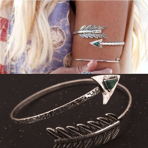 Bohemian Ethnic Upper Arm Bracelet Vintage Arrow Open Bangle Armlet Arm Cuff BL096 - Hespirides Gifts