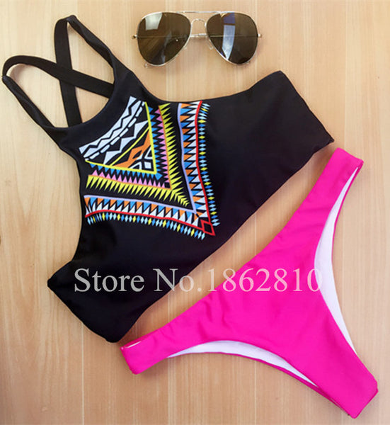 New Fashion Women Bikinis High Neck Push up Bikini Set Geometry Black Swimwear Slim Print Swimsuit Biquini Bathing Suit - Hespirides Gifts - 5