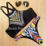 New Fashion Women Bikinis High Neck Push up Bikini Set Geometry Black Swimwear Slim Print Swimsuit Biquini Bathing Suit - Hespirides Gifts - 4