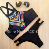 New Fashion Women Bikinis High Neck Push up Bikini Set Geometry Black Swimwear Slim Print Swimsuit Biquini Bathing Suit - Hespirides Gifts - 2