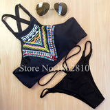 New Fashion Women Bikinis High Neck Push up Bikini Set Geometry Black Swimwear Slim Print Swimsuit Biquini Bathing Suit - Hespirides Gifts - 6
