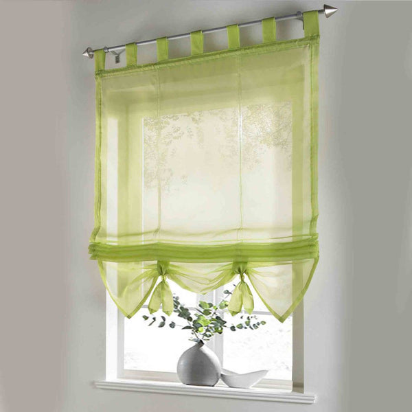 Roman Curtain Floral Printing Sheer Window Curtain For Kitchen Living Room Voile Screening Panel 1 PCS/Lot With Plastic Tubes