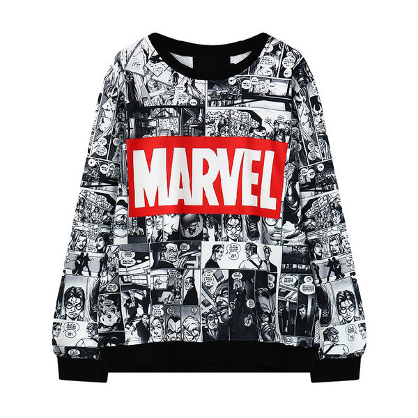 Harajuku Comics Printed Women MARVEL Sweatshirt Loose O Neck Hoodies Women Cartoon Swag Sweatshirt Womens Hoody Pullovers - Hespirides Gifts