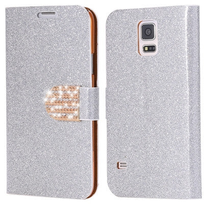 S5 Cases Fashion Women Girl Bling Diamond Glitter PU Leather Flip Phone Case For Samsung Galaxy S5 i9600 SV Stand Wallet Cover - Hespirides Gifts - 8