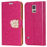 S5 Cases Fashion Women Girl Bling Diamond Glitter PU Leather Flip Phone Case For Samsung Galaxy S5 i9600 SV Stand Wallet Cover - Hespirides Gifts - 5