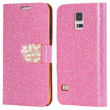 S5 Cases Fashion Women Girl Bling Diamond Glitter PU Leather Flip Phone Case For Samsung Galaxy S5 i9600 SV Stand Wallet Cover - Hespirides Gifts - 2