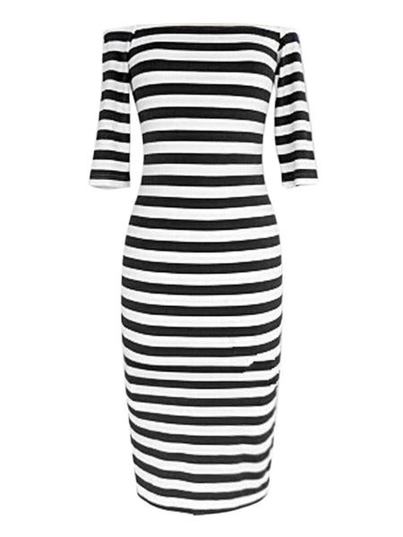 Women Stripes Half Sleeve Jersey Knee Length Midi Casual Off the Shoulder Bodycon Pencil Dress Fashion 3 Colors - Hespirides Gifts - 3