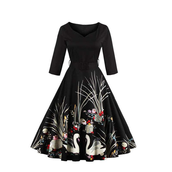 Sisjuly vintage autumn women dress with sashes 1950s festa A line dresses print v- neck half sleeve vintage women dresses