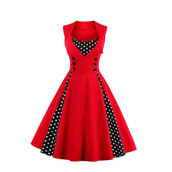 Sisjuly vintage autumn women red dress with polka dots patchwork sleeveless with botton 1950s dress festa elegant vintage dress