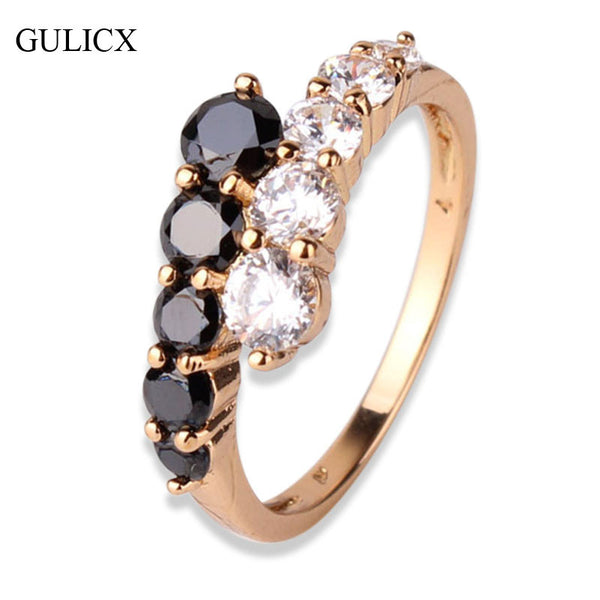 Fashion Engagement Rings for women 18K Gold Plated Mid Ring Black White Crystal Zirconia CZ Band Ring Wedding Rings Jewelry R110 - Hespirides Gifts
