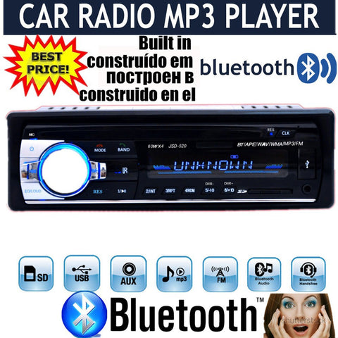 new 12V Car tuner Stereo bluetooth FM Radio MP3 Audio Player Phone USB/SD MMC Port Car radio bluetooth tuner In-Dash 1 DIN - Hespirides Gifts