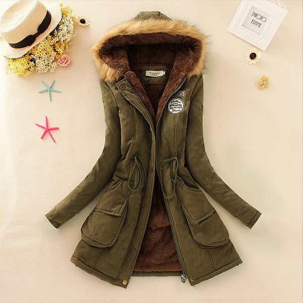 Parkas Women Coats Fashion Autumn Warm Winter Jackets Women Fur Collar Long Parka Plus Size Hoodies Casual Cotton Outwear Hot