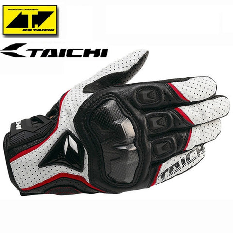 Motorcycle Gloves RS Taichi RST390 Mens Perforated Leather Mesh Racing Motocross Motorbike Gloves Black Red White - Hespirides Gifts