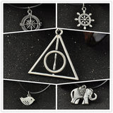 Retro Silver Simple Harry Potter Deathly Hallows Rope Pendant Necklace Elephant Bird Rubber Compass Charms Choker Necklaces - Hespirides Gifts - 1