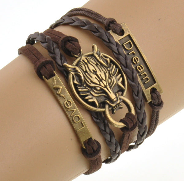 Charm Boho Wolf Style Brown Rope Chain Bracelet Men Jewelry Bracelets For Women Pulseras Mujer With Nameplate - Hespirides Gifts