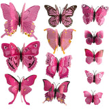 house decoration 12 PCS stereo butterflies refrigerator stickers home decor removable 3D wall stickers home decor - Hespirides Gifts - 21