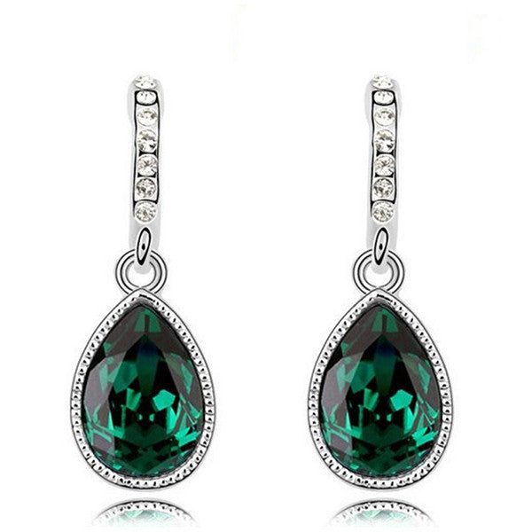 Fashion Green Main Color Drop Earrings female Silver Plated Crystal Long Earring For Women Rhinestone Drop Earrings brincos - Hespirides Gifts - 5