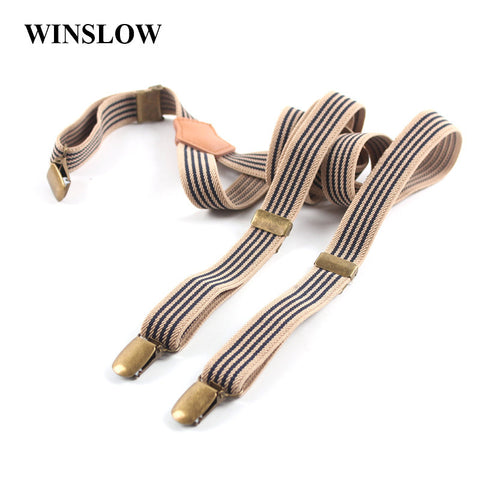 Fashion Jeans Striped Retro 3 Clip Men Women Suspenders For Pants Unisex Adjustable Braces Plus Size - Hespirides Gifts - 1