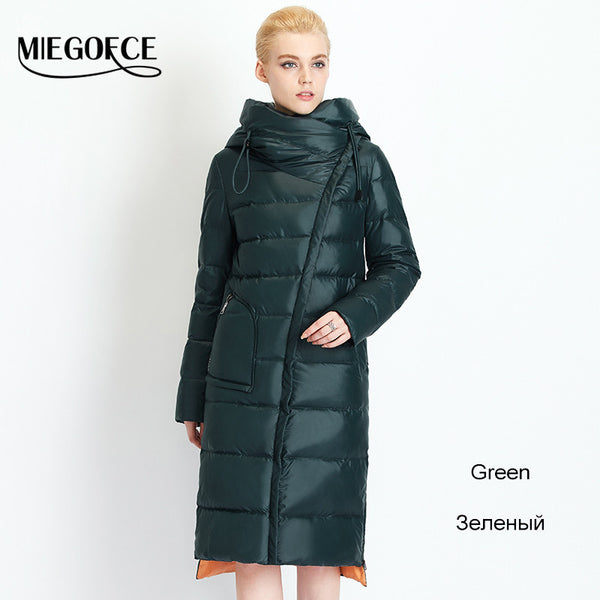 MIEGOFCE New Winter Collection 2016 Bio Fluff Coat Medium Length Fashionable Down coat Women's Hooded Warm Jacket
