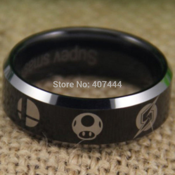 USA UK Canada Russia Brazil Hot Sales 8MM Metroid/Pokemon/Mario bros/Star/Fox/Zelda Super Smash Bros Tungsten Ring - Hespirides Gifts