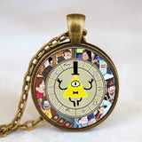 Steampunk Drama Gravity Falls Mysteries BILL CIPHER WHEEL Pendant Necklace glass doctor who 1pcs/lot Glass mens vintage earring - Hespirides Gifts - 8