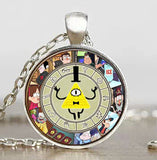 Steampunk Drama Gravity Falls Mysteries BILL CIPHER WHEEL Pendant Necklace glass doctor who 1pcs/lot Glass mens vintage earring - Hespirides Gifts - 13