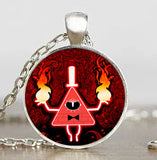 Steampunk Drama Gravity Falls Mysteries BILL CIPHER WHEEL Pendant Necklace glass doctor who 1pcs/lot Glass mens vintage earring - Hespirides Gifts - 4