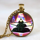 Steampunk Drama Gravity Falls Mysteries BILL CIPHER WHEEL Pendant Necklace glass doctor who 1pcs/lot Glass mens vintage earring - Hespirides Gifts - 16