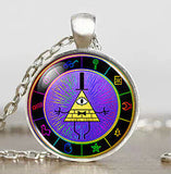 Steampunk Drama Gravity Falls Mysteries BILL CIPHER WHEEL Pendant Necklace glass doctor who 1pcs/lot Glass mens vintage earring - Hespirides Gifts - 9