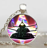 Steampunk Drama Gravity Falls Mysteries BILL CIPHER WHEEL Pendant Necklace glass doctor who 1pcs/lot Glass mens vintage earring - Hespirides Gifts - 5