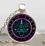 Steampunk Drama Gravity Falls Mysteries BILL CIPHER WHEEL Pendant Necklace glass doctor who 1pcs/lot Glass mens vintage earring - Hespirides Gifts - 14