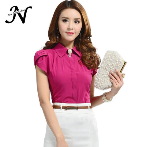 New Ladies Office Shirts Work Wear Womens Tops Butterfly Short Sleeve White Rose Red Women Blouse Chemise Femme 2590 - Hespirides Gifts - 1