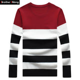 New Men's Leisure Clohing Sweaters with Round Collar and Stripe Cultivate One's Morality Big Yards M-5XL Christmas sweater