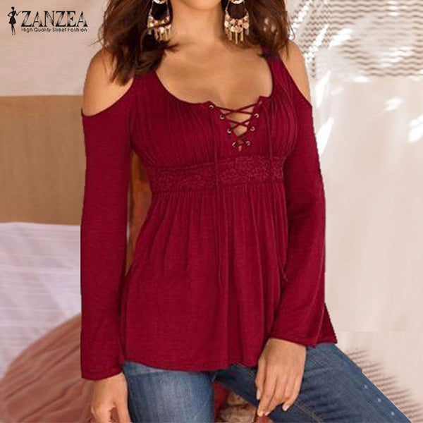 ZANZEA Blusas Femininas Autumn 2016 Women Blouses Shirts Sexy Lace Up Long Sleeve Patchwork Lace Casual Tops Plus Size