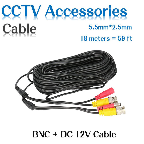 BNC Video Power Siamese Cable 65ft 18m 20m for Analog AHD CVI CCTV Surveillance Camera DVR Kit - Hespirides Gifts