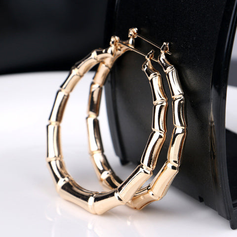 Fashion Punk Old School Gold Tone Bamboo Big Hoop Hiphop Large Circle Earrings ER906 - Hespirides Gifts