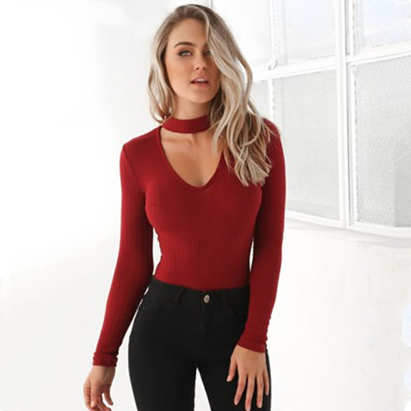 Smoves Sexy Choker High Neck Plunge V Long Sleeve Shoulder Women Autumn Spring Ribbed Bodysuits Playsuits Rompers Jumpsuits New