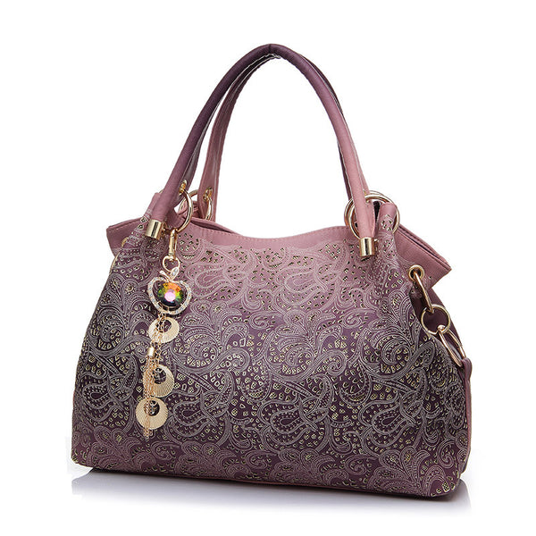 Brand designer good Quality flowers Hollow Out Shoulder hobos Bag tassel Elegant Women Ladies Leather Handbag bolsas femininas
