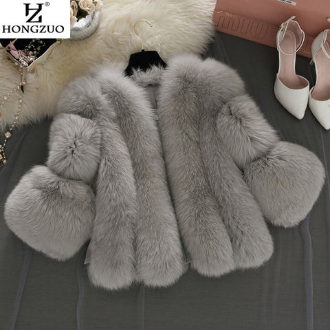 HONGZUO PC237 Fur Coat With Free Winter Scarf