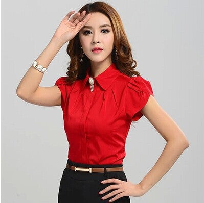 New Ladies Office Shirts Work Wear Womens Tops Butterfly Short Sleeve White Rose Red Women Blouse Chemise Femme 2590 - Hespirides Gifts - 3