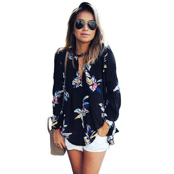 Womens Chiffon Blouse 2016 Fashion Floral Printing Loose Long Sleeve Tops V-Neck Lady Clothes #LEN1 - Hespirides Gifts