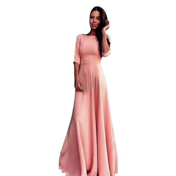 Hot Sale Fashion Pink Women High Waist Long Party Ball Prom Gown Formal Bridesmaid Maxi Vestido Dress Elegant Half Sleeve - Hespirides Gifts - 2