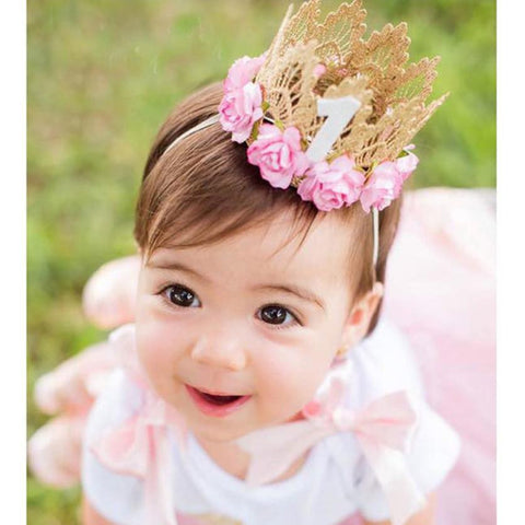 Princess Girl Head Accessories 2016 Baby Newborn Hairband Baby Hair Band Elastic Flower Crown Headwear #LSW - Hespirides Gifts - 1