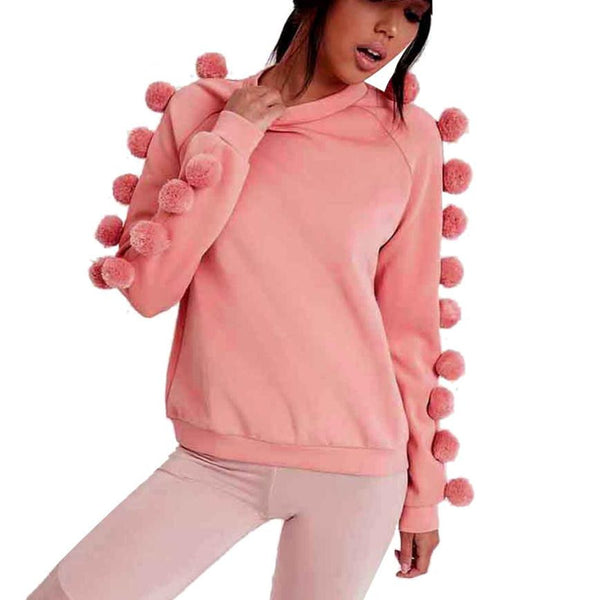 Women Blouse Long Sleeves Sweatshirt Sweater Casual Coat Pullover Sweet Pink Wool ball Decorate blusa feminina#LSIN - Hespirides Gifts - 2